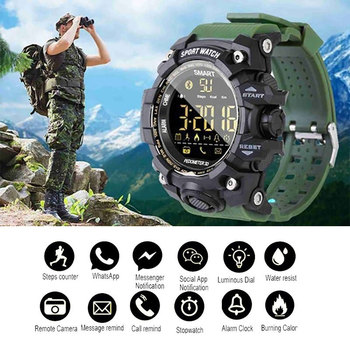 Bluetooth Digital Men Smart Watch Sports Fitness Bracelet Waterproof Alarm Long Standby Military Smartwatch Pedometer Wristwatch