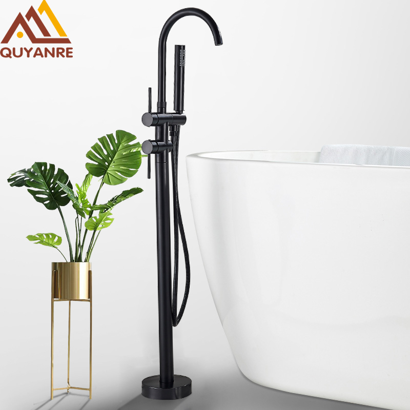 Quyanre Black Bathtub Floor Stand Faucet Mixer Single Handle Mixer Tap 360 Rotation Spout With ABS Handshower Bath Mixer Shower
