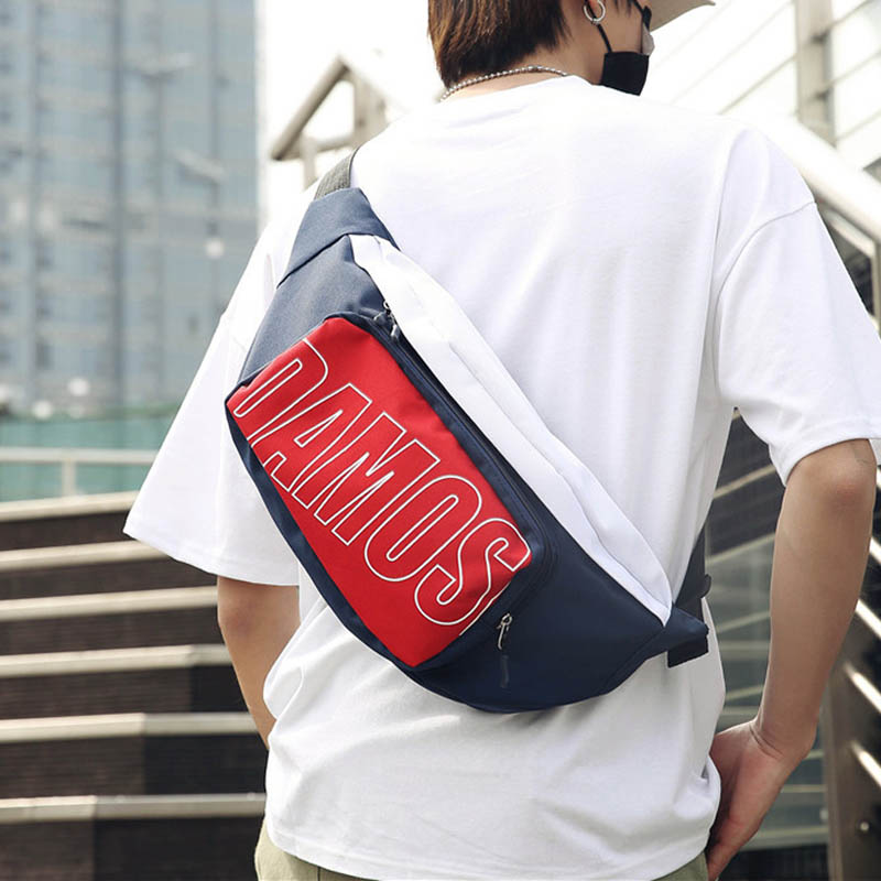 New Men Waist Bags Oxford Fanny Pack Letter Street Banana Bags Unisex Hip Bag High Capacity Hip Hop Kidney Bag Shoulder Bags