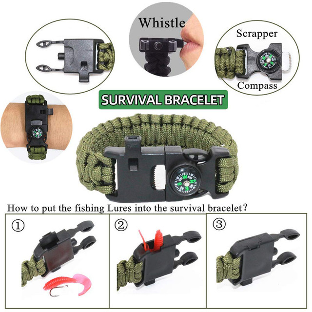 HuntingE mergency Survival Kit Fishing SOS,EDC Survival Gear Outdoor Camping Hiking Kit with knife flashlight Emergency blanket 4