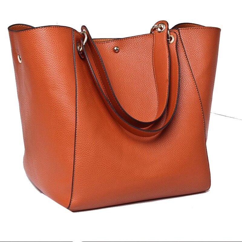 Image 2 - Real Genuine Leather Women Shoulder Bag High Quality Designer Leather Handbag Female Big Tote Ladies Hand Bags for women 2019-in Shoulder Bags from Luggage & Bags