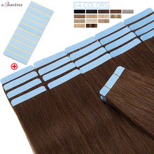 S-noilite Tape In Natural Hair Extensions Straight Human Hair Seamless Invisible Double Sides Glue In Hair Extension 12-24Inches