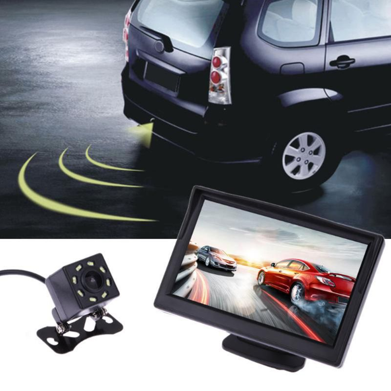 5 Inch LCD Screen Monitor Suction Cup Parking Camera Car Rearview Reverse Backup Camera