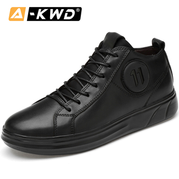 Autumn Lightweight Elevator Shoes for Men Zapatos Hombres Black Genuine Leather Sneakers Men High Top Fashion Sneakers Brand Men