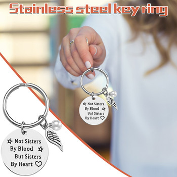 top selling in 2021 Fashion Gift Stainless Steel Keychain Pearl Good Sister Keychain Jewelry Support Wholesale and Dropshipping image