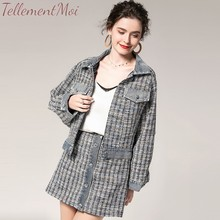 Autumn Fashion Skirts Two Pieces Set Elegant Tweed Single Breasted Jacket Coat + A Line Skirt Suits Womens Mini Sets