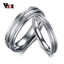 Vnox Forever Love Engagement Rings for Women Men Stainless Steel Wedding Bands Couples Promise Finger Ring(China)