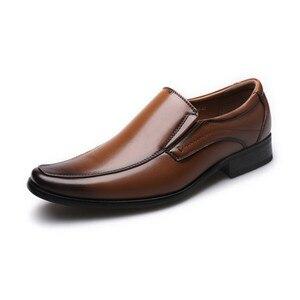 Image 1 - Classic Business Mens Dress Shoes Fashion Elegant Formal Wedding Shoes Men Slip On Office Oxford Shoes For Men Black B1375