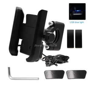 Image 3 - Universal Motorcycle Bike Handlebar Mobile Phone Holder Stand Mount Bracket with USB Charger for 4 6.5inch Cellphone Whosale