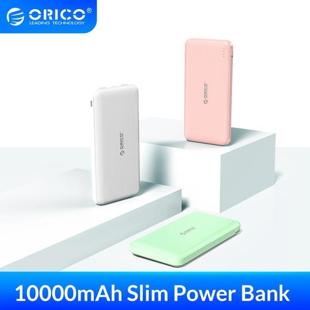 Bateria externa portátil orico, bateria fina de 10000mah, carregador para telefone celular xiaomi usb tipo c