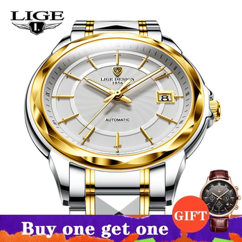 2021 New LIGE Sword-Shaped Pointer Automatic Mechanical Watch Luxury Tungsten Steel 50m Waterproof Business Watch Men Watches