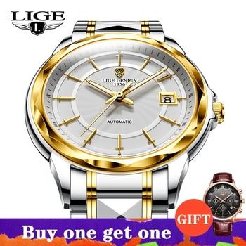 2021 New LIGE Sword-Shaped Pointer Automatic Mechanical Watch Luxury Tungsten Steel 50m Waterproof Business Watch Men Watches