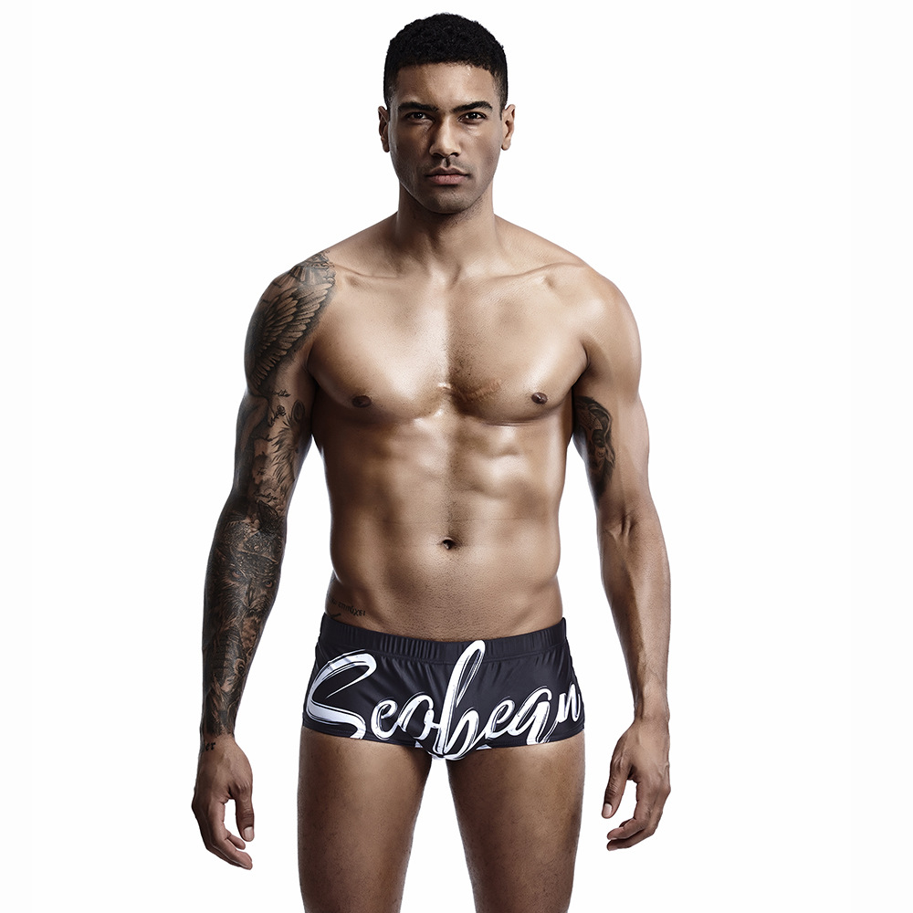 Wholesale SEOBEAN Seobean Summer Men New Style AussieBum Low Waist Sexy Large Lettered Swimming Trunks Foreign Trade
