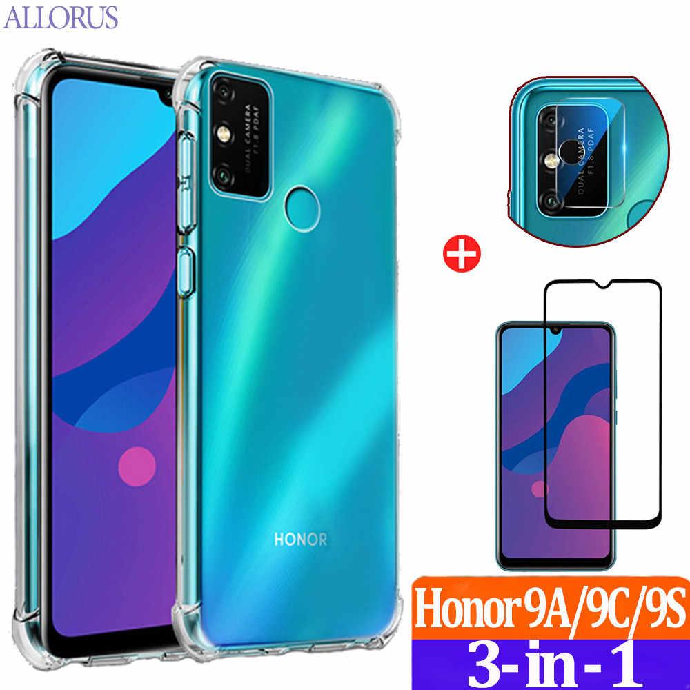 6,3 Pulgadas Reshias Funda para Huawei Honor 9A con Dos Cristal Templado Protector de Pantalla Suave TPU Transparente Gel Silicona Anti Ca/ída Protectora Carcasa para Huawei Honor 9A