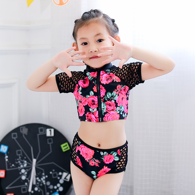 KID'S Swimwear Girls Cute Flower Children Network Sleeve Zipper Split Type Three-piece Set Spa Resort Swimwear