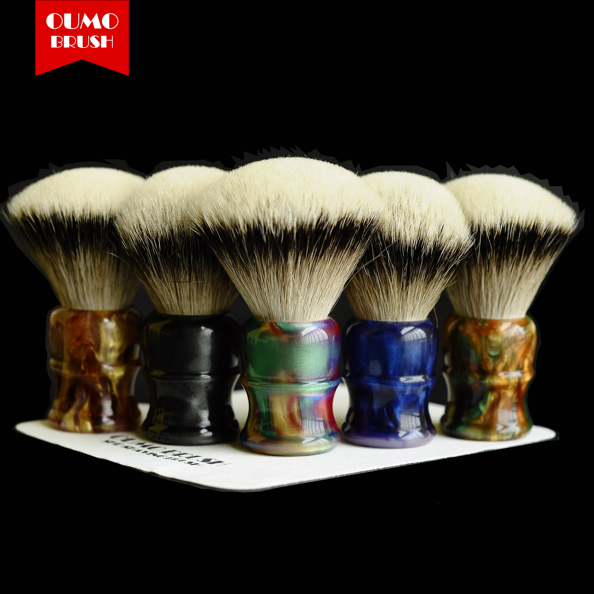 OUMO BRUSH  Classic Chubby Shaving Brush With SHD HMW Silvertip Gel City 26MM Badger Knots
