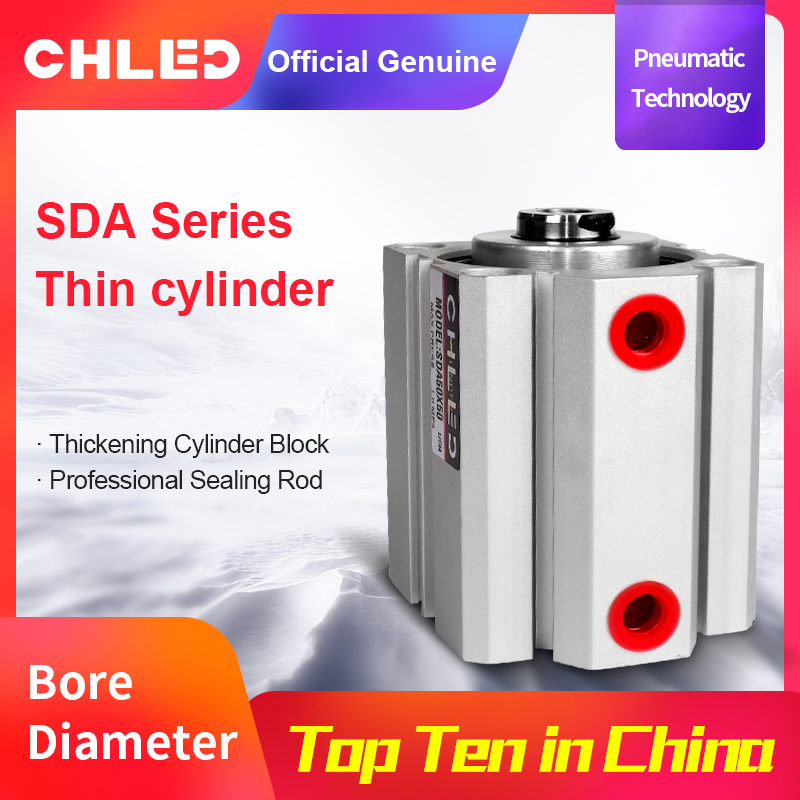 Chled Pneumatic Cylinder SDA Type 12/16/20/25/32/40/50/63mm Bore 5/10/15/20/25/30/35/40/45/50mm Stroke  Pneumatic Air Cylinder