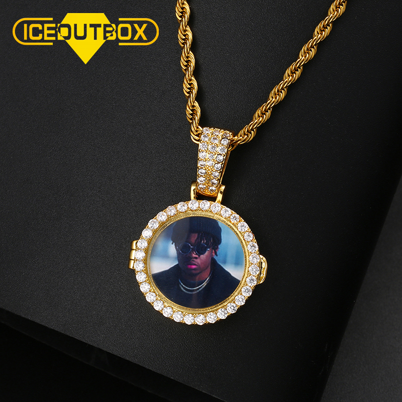 New Design Custom Made Picture Medallions Pendant Necklace Open Round Pendant Iced Out Cubic Zircon Men's Hip Hop Jewelry Gift
