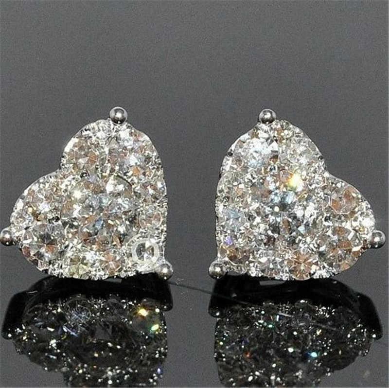 Heart shape Stud Earrring AAAAA cz prawdziwe 925 srebro Bijou oświadczenie ślubne kolczyki dla kobiet biżuteria na przyjęcie ślubne