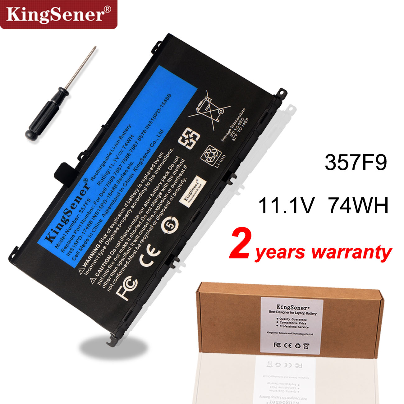 KingSener 11.1V 74WH 357F9 Battery For Dell Inspiron 15- 7000 7559 7557 7566 7567 5576 INS15PD-1548B INS15PD-1748B INS15PD-1848B