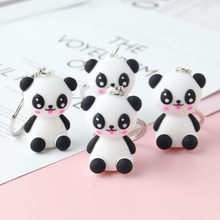 2019 Fashion Cute Panda Baby Keychain Girl'S Backpack Decorative Pendant Women Car Key Chain children Holiday Gift key Ring(China)