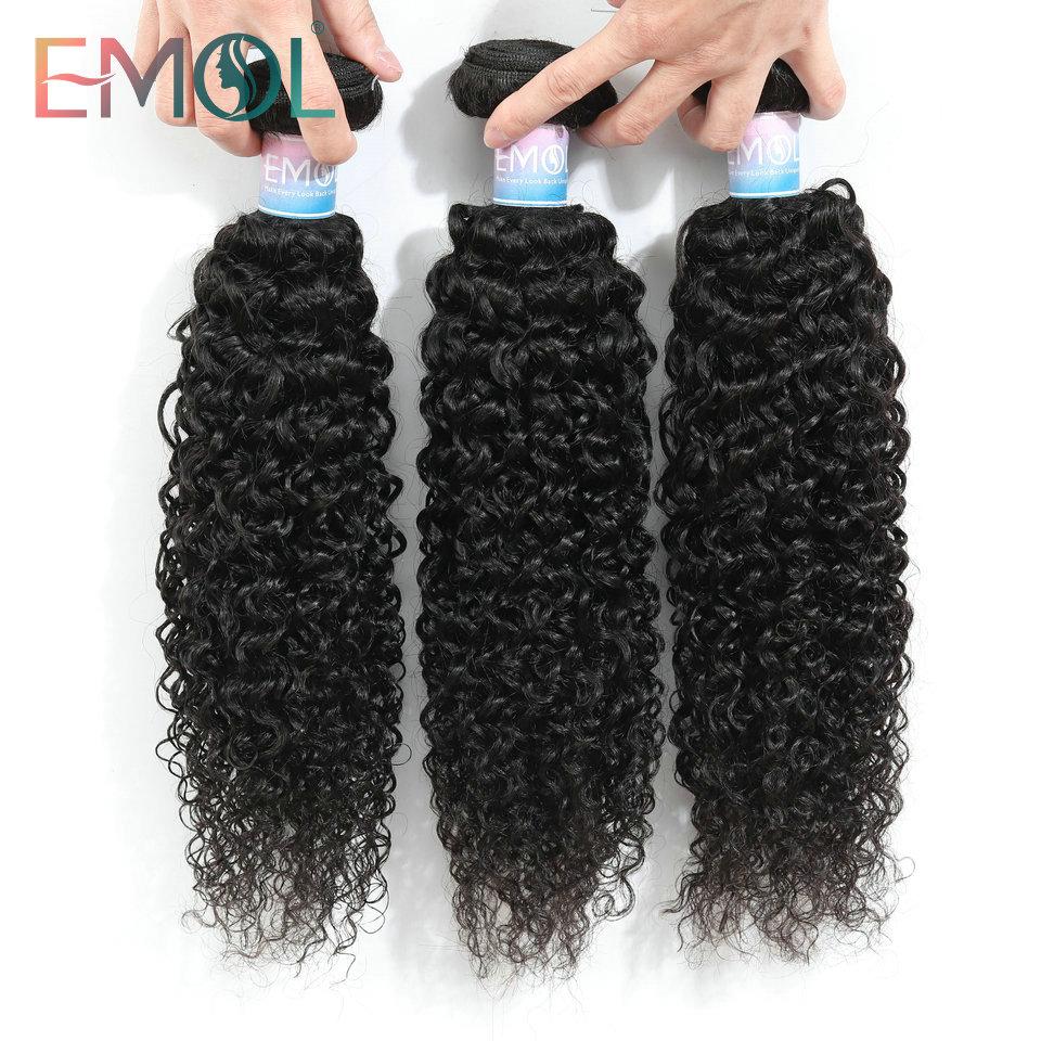 Emol Peruvian Kinky Curly Hair Bundles Peruvian Hair Weave Bundle 8-28Inch Human Hair Bundle Non-Remy Extensions
