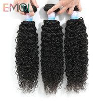 Emol Peruvian Kinky Curly Hair Bundles Peruvian Hair Weave Bundle 8 28Inch Human Hair Bundle Non Remy Extensions
