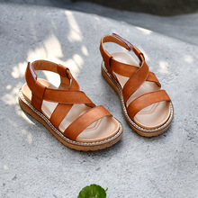 Girl sandals summer Children beach shoes Genuine Leather Wat