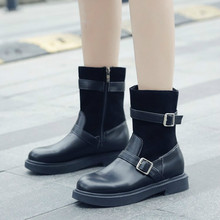 2019 Spring Autumn Fashion Women winter Boots Platform Buckle Lace Up Leather Short Booties Black Ladies Shoes Mid-Calf цены онлайн