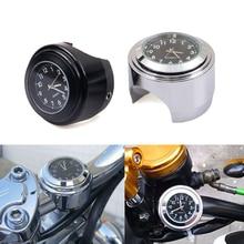 "Motorcycle  Quartz Clock 7/8"" Waterproof Chrome Bike Handlebar Mount Watch Aluminum Luminous Clock Universal  Moto Accessori Bla"