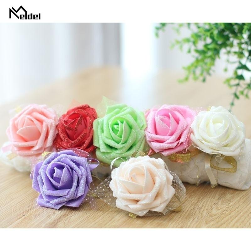 Wedding Wrist Corsage Bracelet Flower Wedding Bracelet For Bridesmaid Bride Foam Roses Pink Marriage Flowers Wedding Accessories