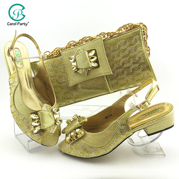 2020 Newest African Fashion Woman Shoes And Bag Set For Wedding Latest Italian design Shoes And Matching Bag Set in Gold Color