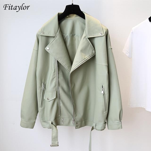 Fitaylor New Spring Women Loose Pu Faux Leather Jacket with Belt Streetwear Moto Biker Black Coat BF Style Oversized Outwear 1