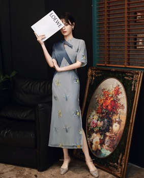 autumn and winter cheongsam new stitching embroidery style retro fashion slim slimming temperament improved long