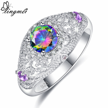 Lingmei Wholesale Gorgeous Fashion Wedding Rings Multicolor Zircon Engagement Jewelry Silver 925 Ring Size 6 7 8 9 Anniversary