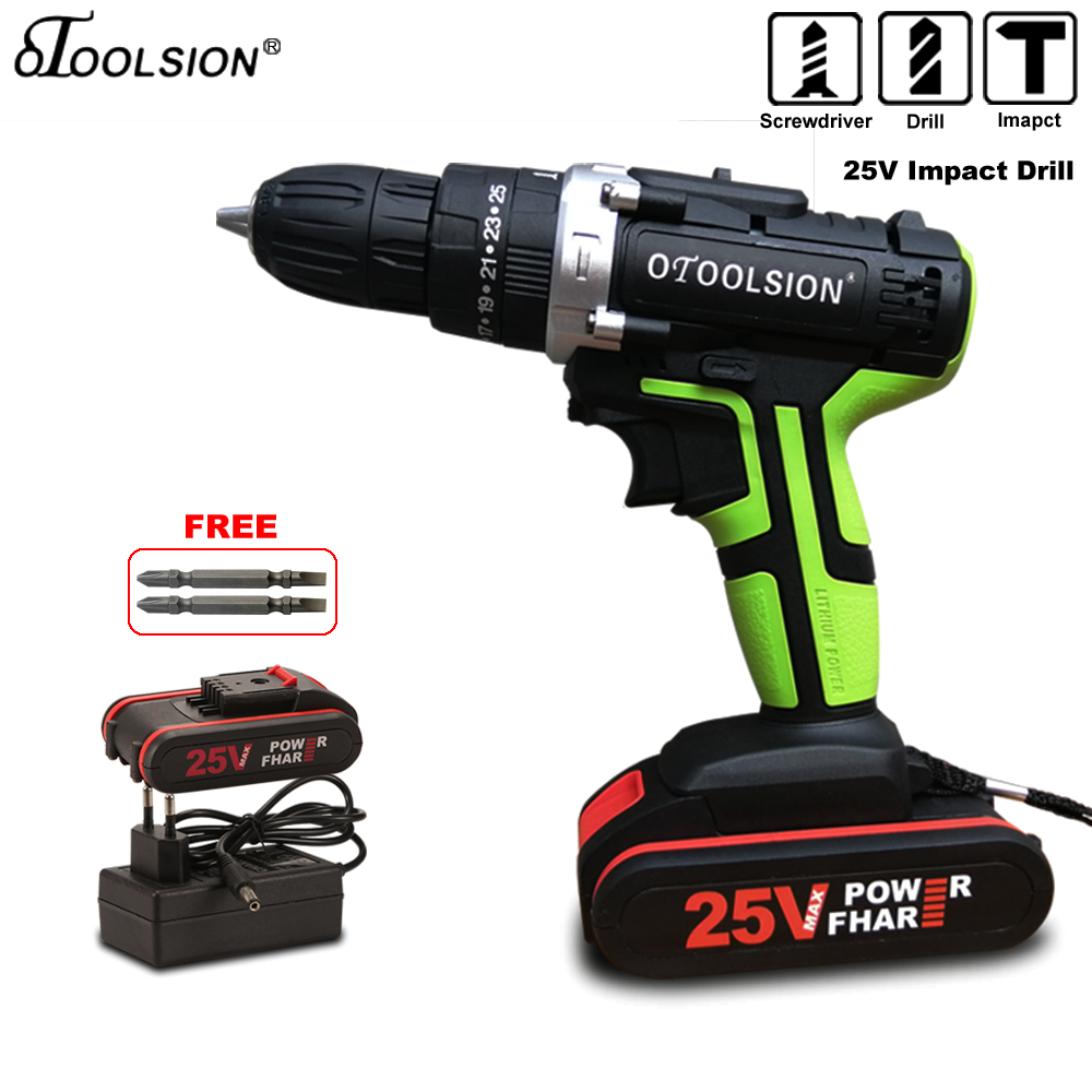 25V Impact Electric Screwdriver 1600rpm 25+3 Torque Impact Drill Electric Drill Hammer Electric Power Tools With Drill Parts