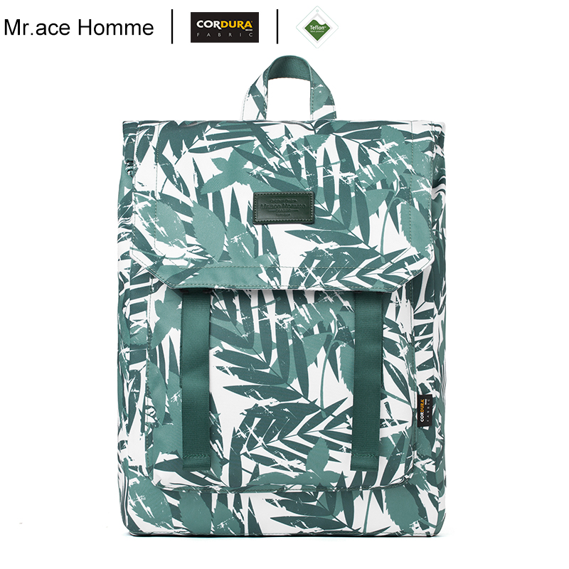 Green Leaf Printing Large 15inch Laptop Backpack Women Big Travel School Backpacks Men Waterproof Square Bagback For Girl