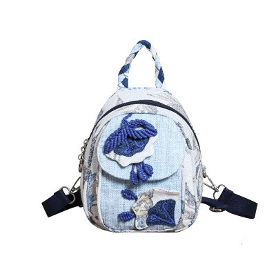 Fashion national string appliques women small shopping backpack!Nice floral embossing lady backrack Hot Original canvas backruck