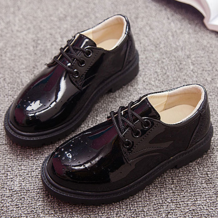 New Kids Leather Shoes Wedding Dress Shoes For Boys Girls Brand Children Black Performance Shoes Boys Formal Wedge Sneakers