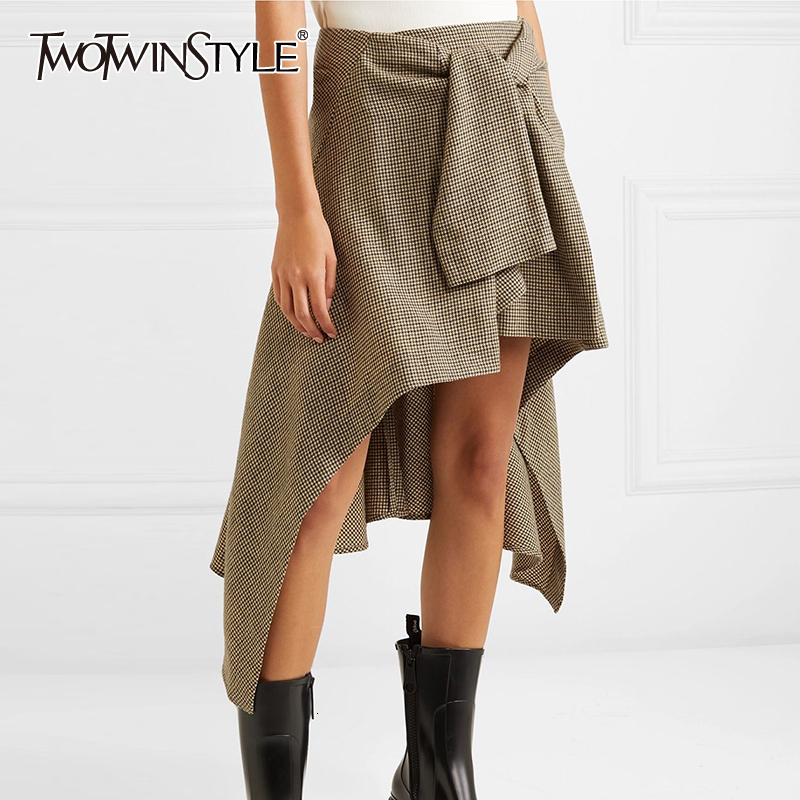 TWOTWINSTYLE Casual Plaid Asymmetrical Women's Skirts High Waist Ruched Irregular Skirt For Female 2019 Fashion Clothing Tide