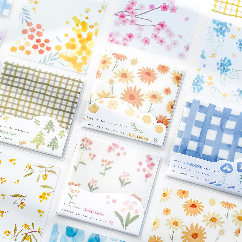 Forest Flower Kawaii Cute Stick Notes Translucent Memo Pad Diary Stationary Flakes Scrapbook Decorative Sticky Notes