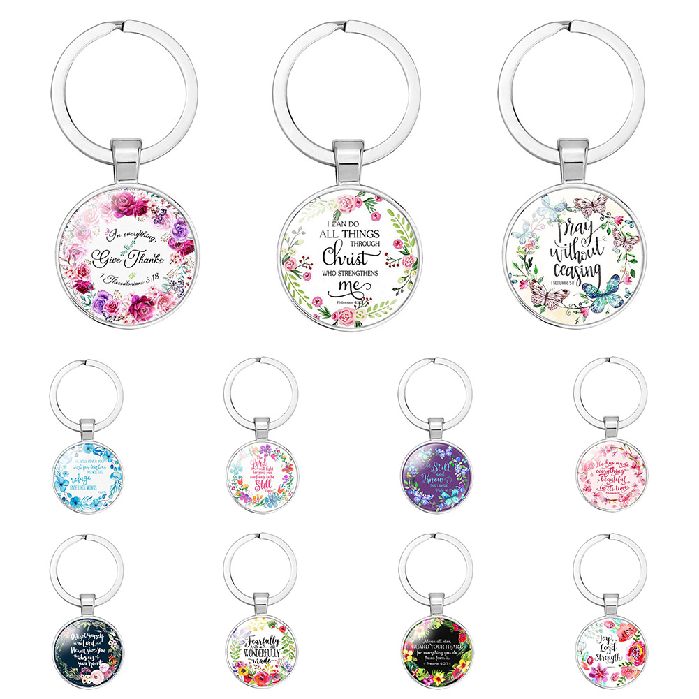New Fashion Bible Verse key Chains Handmade glass key ring scripture quote faith jewelry women men christian gifts Keychain image
