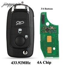 Jingyuqin Flip remoto llave de coche Fob 3/4 botones 433,92 Mhz 4A Chip para Fiat 500X Egea Tipo 2016, 2017, 2018.