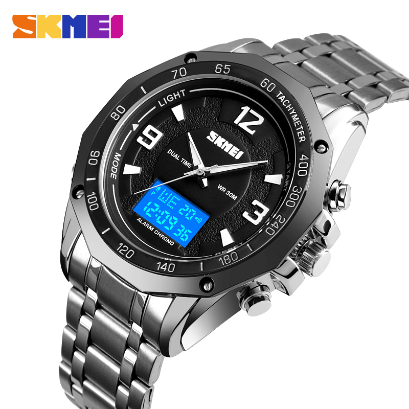 <font><b>SKMEI</b></font> Stainless Steel 2 Time Men Quartz Digital Wrist Watches Stopwatch Alarm Male Clock Montre homme Relogio Masculino <font><b>1504</b></font> New image