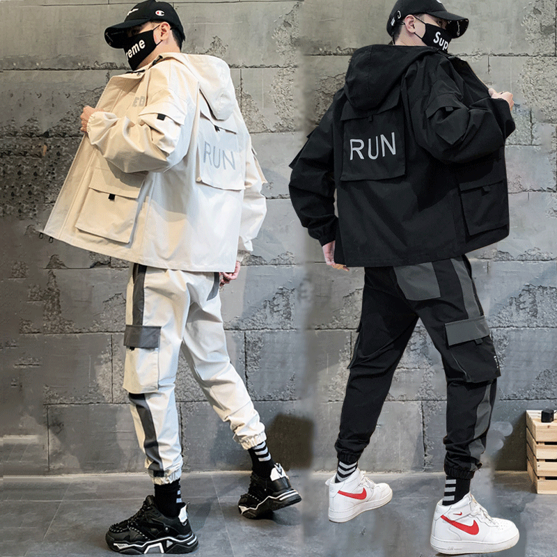 Loose Hip Hop Tracksuit Men Military Pocket Casual White Street Jacket Men Long Sleeve Autumn Fashion Mens Sports Sets MM60NTZ