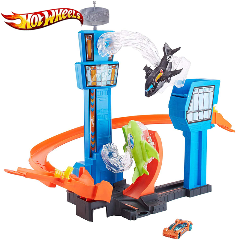 Hot Wheels Racing Car Track Mega Jump Playset Funny Game Play Airport Flying Blace Brinquedos 2019 Newest Hotwheels GFH90 Toys