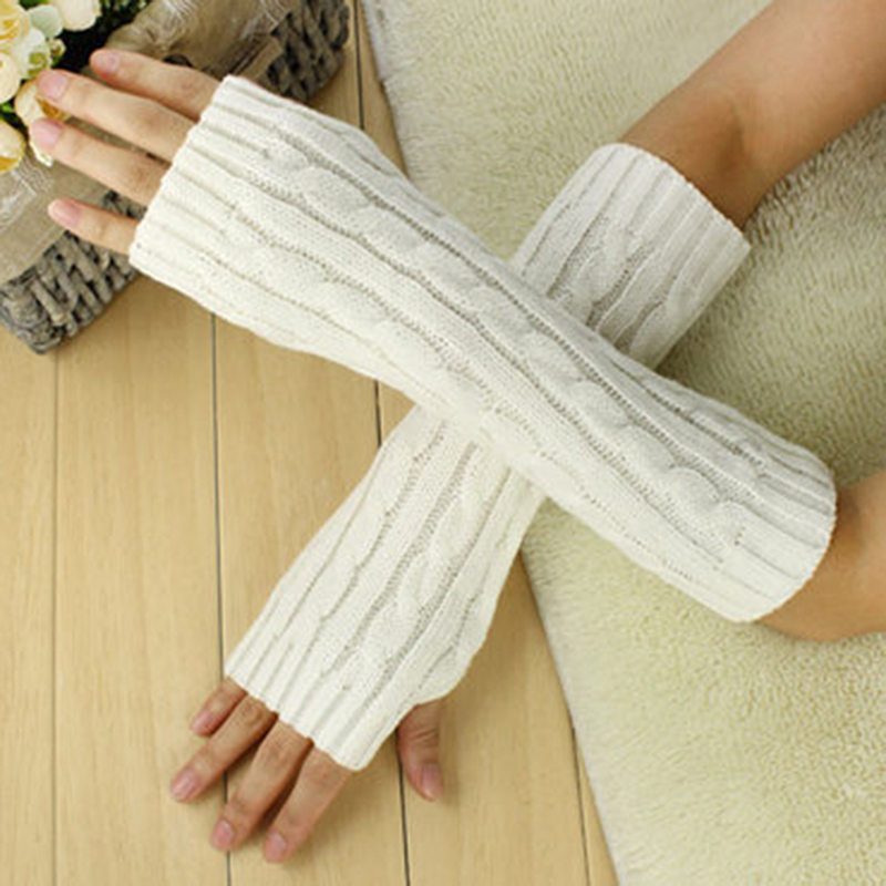 New Arrive Women Wool Gloves Mitten Warm Fingerless Gloves Hand Arm Warmer Winter Arm Crochet Knitted Thick Faux Glove Gants Red