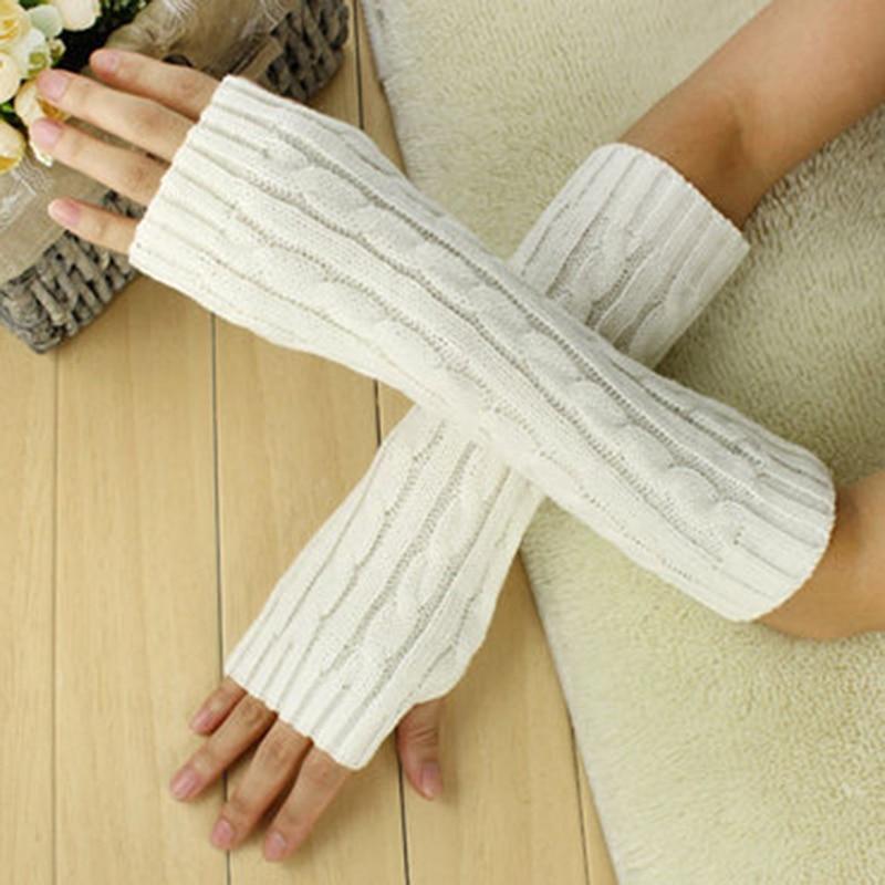 New Arrive Women Wool Gloves Mitten Warm Fingerless Gloves Hand Arm Warmer Winter Arm Crochet Knitted Thick Faux Glove Gants Red