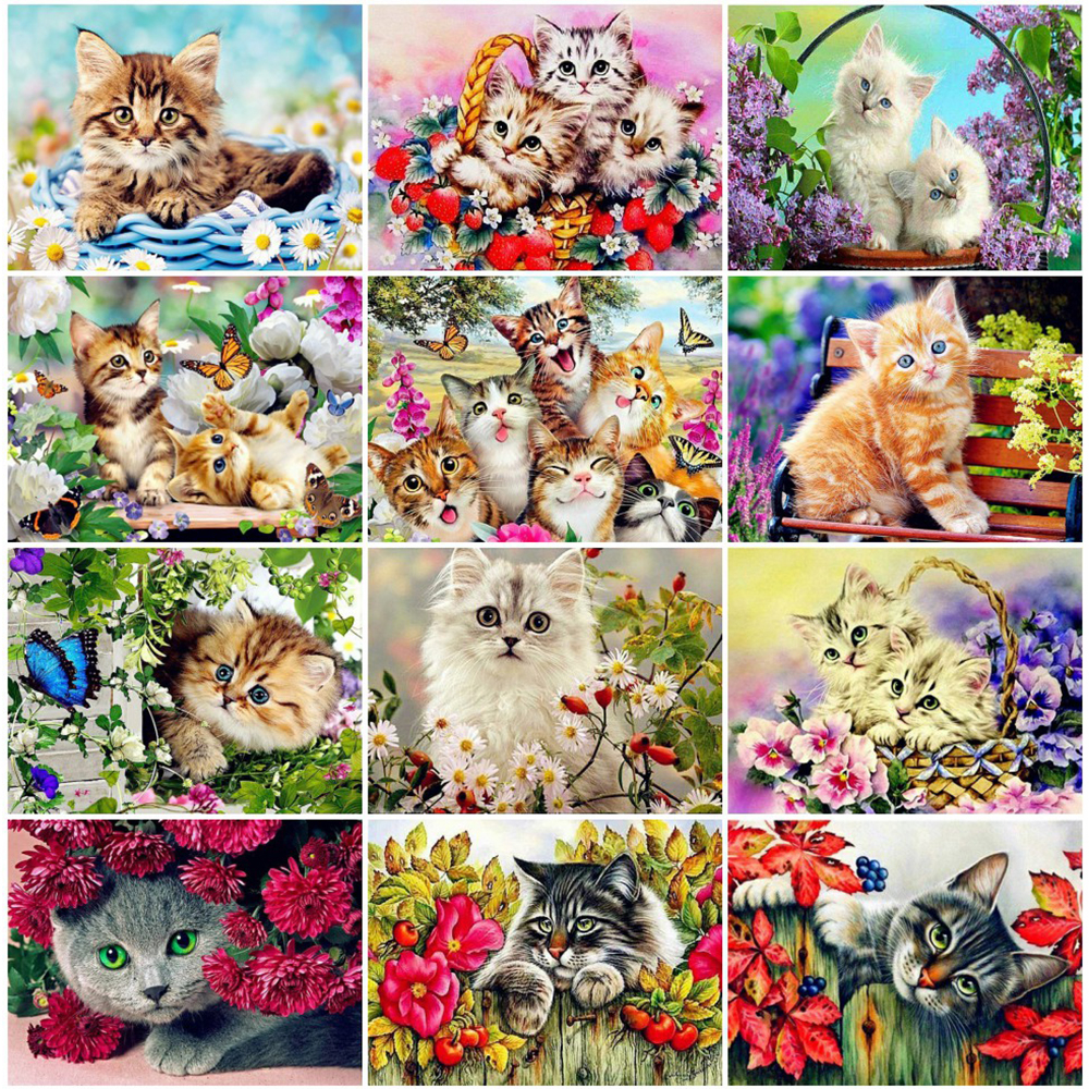 EverShine 5D Diamond Painting Full Drill Animal Diamond Embroidery Cat DIY Needlework Beaded Cross Stitch Handmade Gift-0