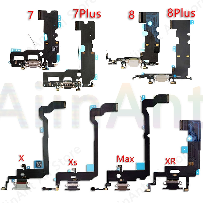 AiinAnt Original USB Port Charger Dock Connector Mic Charging Flex Cable For IPhone 7 8 Plus Xs Max X XR Dock Charging Flex